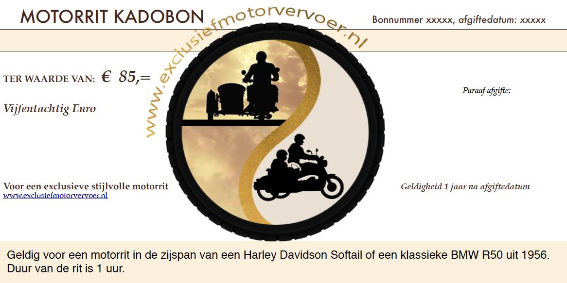 Kadobon Exclusief motorvervoer
